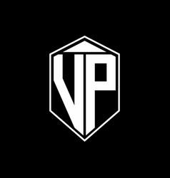 Vp logo monogram with emblem shape combination vector