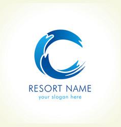waves c logo vector image
