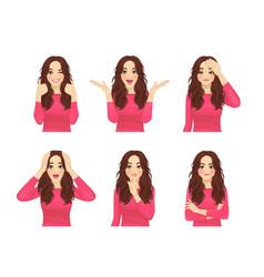 Woman expressions set vector