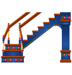 wooden staircase with ornament in slavic style vector image