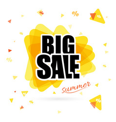 yellow sun with big sale text isolated on vector image