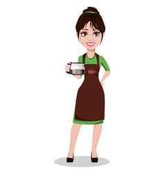 young beautiful female barista in uniform vector image