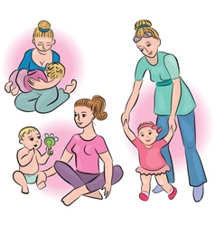 Mothers and babies in their daily lives vector image