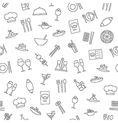 Restaurant pattern black icons vector image