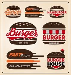 Set of burger shop icon logo design For branding vector image vector image