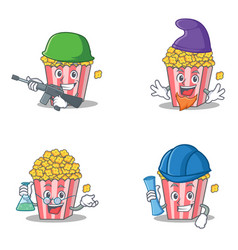 Set of popcorn character with army elf professor vector