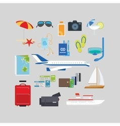 Travel and tourism summer flat icons vector image vector image