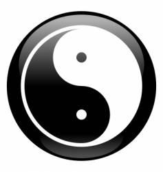 yin-yang black icon vector image