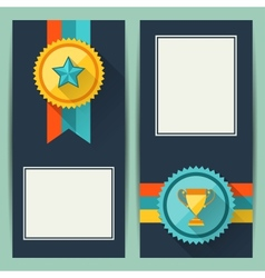 Certificate templates with trophies and awards vector image vector image