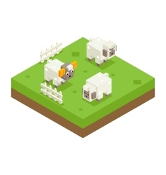 Isometric Sheep Ram Field 3d Icon Symbol Meadow vector image
