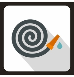 Rolled up garden hose icon flat style vector