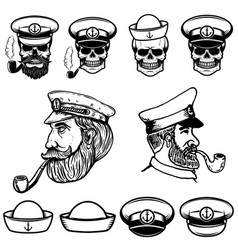 sea captain skulls in sailor hats vector image vector image