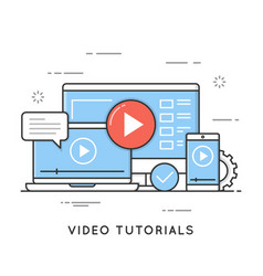 video tutorials online training and learning vector image
