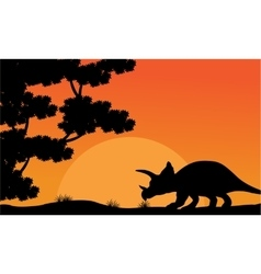 At sunset dinosaur triceratops scenery vector image