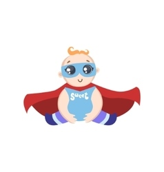 Baby dressed as superhero with mask vector