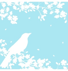blooming tree and birds vector image