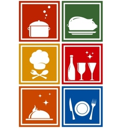colorful icons with kitchen objects vector image
