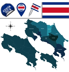 Costa Rica map with named divisions vector image vector image