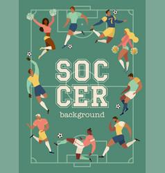 football soccer players and cheerleaders set vector image