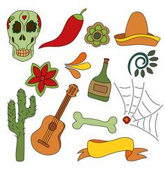 Hand drawn set of mexican symbols - guitar vector
