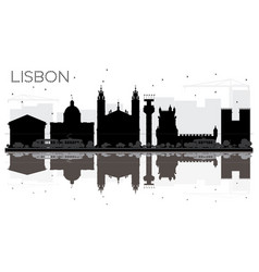 lisbon city skyline black and white silhouette vector image vector image