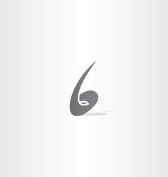 number 6 no six black logo icon vector image vector image
