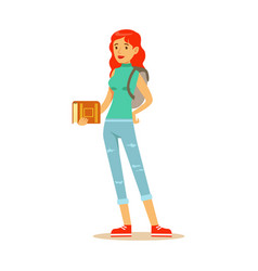 smiling red haired student with a backpack vector image vector image