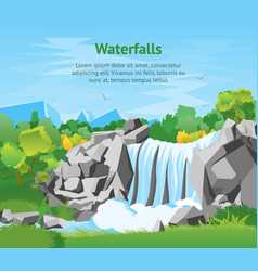 cartoon waterfall landscape background card poster vector image vector image
