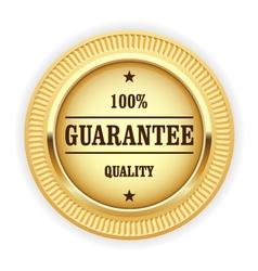 Golden medal - 100 quality guarantee symbol vector image vector image