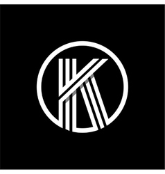 K capital letter of three white stripes enclosed vector image vector image