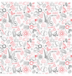 school supplies seamless pattern doodle hand drawn vector image