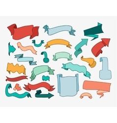 Set of cartoon hand drawn ribbons and labels vector image vector image