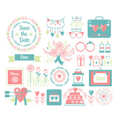 vintage set of decorative cute wedding vector image