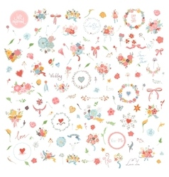 Wedding Hand Drawn vintage floral elements Set of vector image