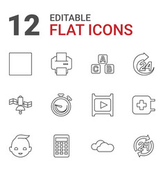 12 glossy icons vector image