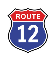 12 route sign icon road highway vector