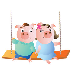 a pair of pigs on a swing vector image