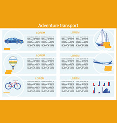 adventure transport infographic set with vehicle vector image