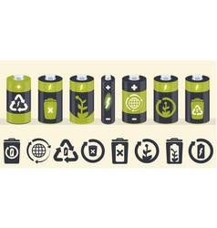 battery cylinder elements eco icons set vector image
