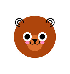 bear face cute isolated on white vector image