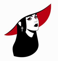 beautiful elegant vampire girl in hat vector image