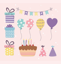 birthday cake gifts balloons bunting decoration vector image