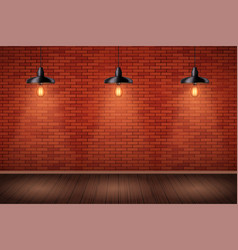 brick wall room with vintage pendant lamps vector image