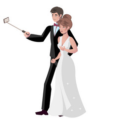 bride and groom make selfie vector image