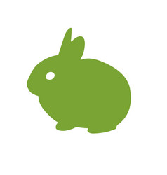 Bunny rabbit green icon abstract outline hand vector