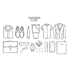 Business Clothing Sketch Set vector image