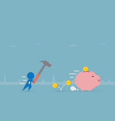 Businessman running to piggy bank with hammer vector