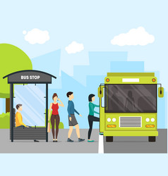 Cartoon bus stop with transport and people vector