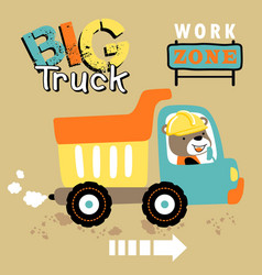 Cartoon dump truck with bear driver vector
