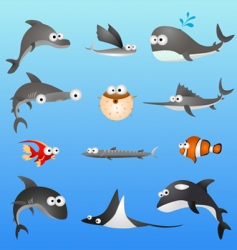 cartoon fish characters vector image vector image
